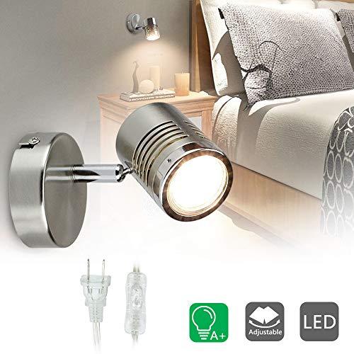 DLLT Mini Directional Wall Spot Light, Adjustable Flush Mount Ceiling Plug Track Lighting for Bedside, Hallway, Headboard Picture, Kitchen, Bedroom, Office, Warm White