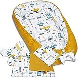 5tlg. PALULLI Kuschelnest-Set inkl Babynest 90x50, herausnehmbarer Einsatz, Krabbledecke, Schmeterrling-Kissen, Flachkissen 100% OEKO TEX