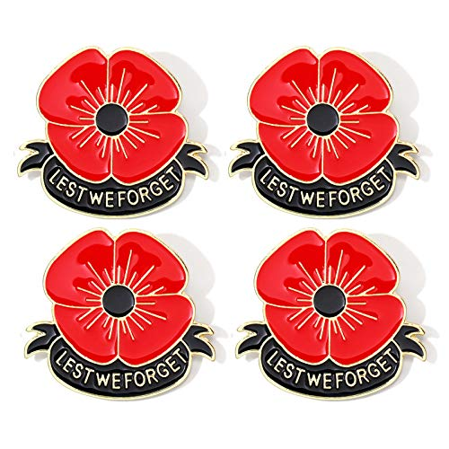 QMVMV 4 PCS Enamel Red Purple Poppy Brooch Pin Badge Set for Remembrance Day Memorial Veterans Lest We Forget (4 Red)