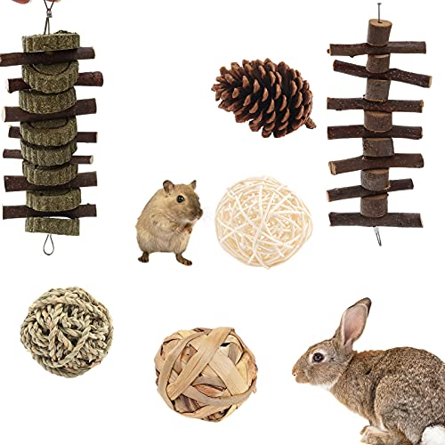 FUFRE Juguete de conejo, juguete de conejo, palitos de manzana naturales con bolas de hierba, mejora la salud dental de las mascotas, para conejos, chinchillas, cobayas, hámsters, Totoro