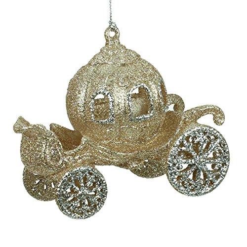 glitter oro Cenerentola/PRINCIPESSE CARRELLO decorazione di Natale (11cm)