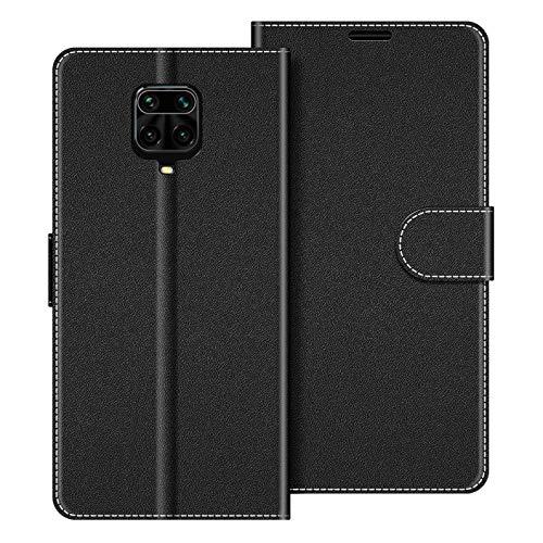 COODIO Handyhülle für Xiaomi Redmi Note 9 Pro Handy Hülle, Xiaomi Redmi Note 9S Hülle Leder Handytasche für Xiaomi Redmi Note 9 Pro/Redmi Note 9S Klapphülle Tasche, Schwarz