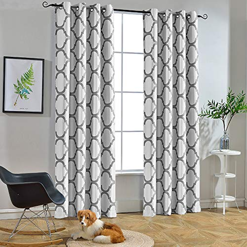 Melodieux Moroccan Fashion Room Darkening Grommet Curtains for Living Room, 52 by 96 Inch, Off White/Grey (1 Panel)