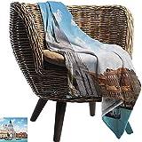 Ducan Lincoln Blanket Piscina Franela Forro Polar Manta Venecia,Gran Canal Y Basílica Santa Maria Della Salute Arquitectura Italiana Café Azul Pálido Tela De Piel Extra Suave,127x102 CM