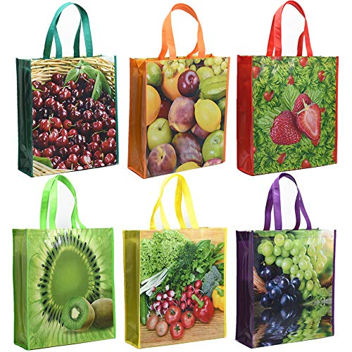 HIGH QUALITY:Our grocery bags made of high quality non-woven fabric.very sturdy.can withstand 45 pounds of weight,and are waterproof, so you can wipe off the stains with a wet cloth.produce bags are made of food-grade mesh material, lightweight. FASH...