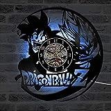 TIANZly Reloj de Pared con Registro LED de Dragon Ball Creativo 3D, Reloj de Pared de CD de Vinilo Hueco, decoración del hogar, Reloj Negro, decoración Retro del hogar