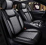 Car Seat Covers en, asientos de cuero Fit 5 asientos del coche parte posterior del frente del conjunto completo universal del interior del coche cuatro estaciones del amortiguador de asiento,B