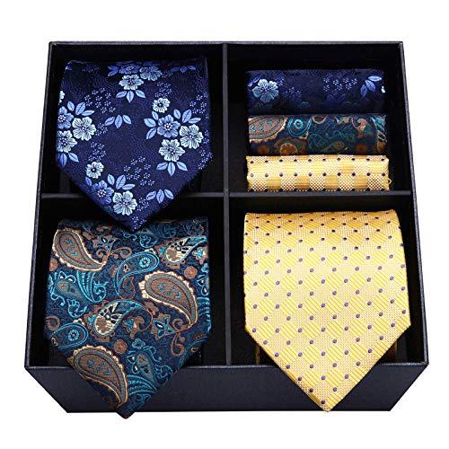 HISDERN Corbatas y pañuelo de hombre (Pack de 3), Conjunto Elegante de corbata para seda hombres - Set regalo para hombres