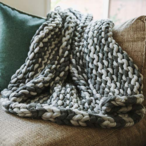 Trunkor Hand Made Chunky Blanket - 50 X 60 Inches - Light and Dark Grey Chunky Knit Blanket for Your Bed Or Sofa Decor - A Beautiful, Boho, Chunky Knit Blanket for Any Room