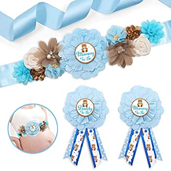 Blue Teddy Bear Maternity Sash Mommy to Be & Daddy to Be Corsage Pin Set for Bear Baby Shower Maternity Photography Keepsake Gifts Pregnancy Flower Belly Belt Gender Reveal Souvenir Supplies