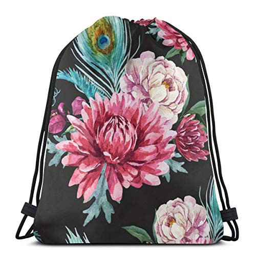 Watercolor Peacock And Flowers Pattern Drawstring Bag with Wet and Dry Separation, Lightweight Gym Backpack Water Resistant