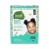 Seventh Generation Baby Wipes, Free & Clear Unscented and Sensitive, Gentle as Water, Refill with Tape Seal, 256 count (Packaging May Vary)
