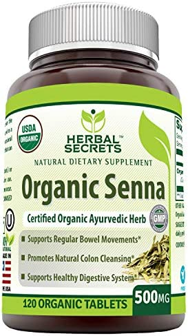 Herbal Secrets Organic Senna 500 Mg 120 Organic Tablets (Non-GMO) - Supports Healthy Weight Management, Regular Bowel Movement, Promotes Natural Colon Cleansing*