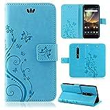 betterfon | Flower Hülle Handytasche Schutzhülle Blumen Klapptasche Handyhülle Handy Schale für Nokia 6.1 Blau