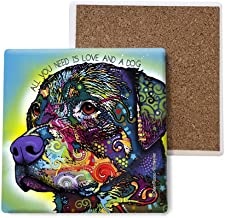 SJT ENTERPRISES, INC. Rottweiler - All You Need is Love and a Dog Absorbent Stone Coasters, 4-inch (4-Pack) Features The Artwork of Dean Russo (SJT07043)