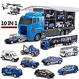 Ritapreaty 10 dans 1 Camion de Transport de Police, Mini-véhicule de Jeu moulé dans Un Jouet de Voiture Transporteur pour Enfant, garçon et Fille, Cadeau