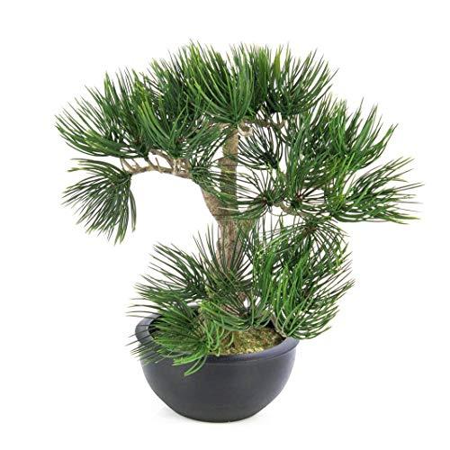 artplants.de Künstlicher Bonsai Pinie in Schale, 43 Nadelzweige, 34cm - Unechter Zimmerbonsai - Kunstbonsai