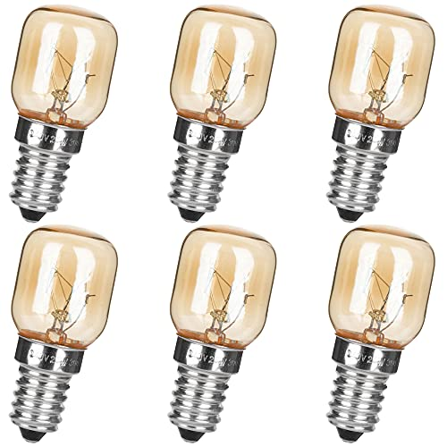 6er Pack E14 Ofenbirnen 25W 230-240V 2700 K Warmweiß,für bis zu 300 Grad,Ofen Glühbirnen,Wolframlicht,Für Mikrowellenherd/Kühlschrank/Backofen/Himalayan Salzlampe/Gefrierschrank/Keramiklampe