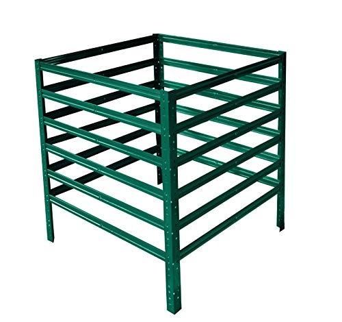 shelfplaza® HOME Komposter 100x60x60 cm garten grün Steckkomposter Bio-Komposter für Küchen- und Gartenabfälle Composter Metallkomposter Kompostbehälter Kompostsilo Kompost
