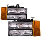 HEADLIGHTSDEPOT Chrome Halogen Headlights Compatible with Chevy Blazer C/K 1500 2500 3500 Suburban 1500 2500...