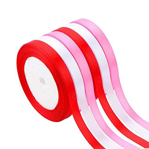 6 Rollos de Cinta de Satén de Doble Cara Cinta de Embalaje de Regalo para Manualidades Decoración de Día de San Valentín, Blanco, Rosa y Rojo