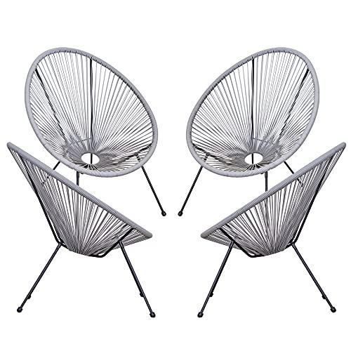 sedie da giardino outsunny Outsunny Set di 4 Sedie da Giardino Ovali in Rattan PE e Metallo Resistente alle Intemperie