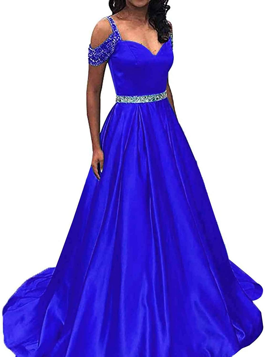 Homdor Long Prom Dresses Cold Shoulder Sequined Sweetheart Satin Evening Ball Gowns