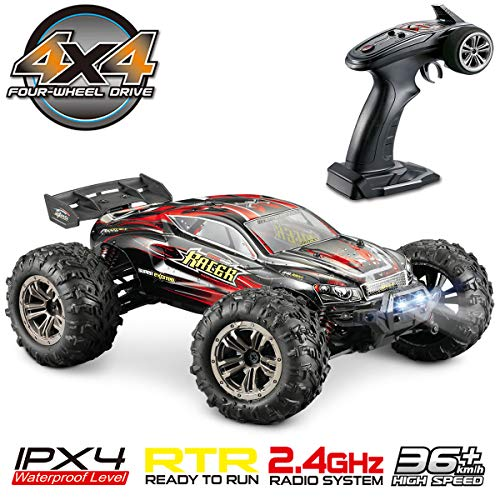 Hosim High Speed 36km/h 4WD 2.4Ghz Remote Control Truck 9138, 1:16 Scale Radio Conrtolled Off-Road RC Car Electronic Monster Truck R/C RTR Hobby Cross-Country Car Buggy (Red)