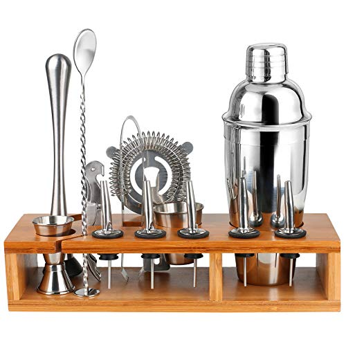 Bartender Kit Cocktail Shaker Set -13 Piece Professional Bar Tools Set, Premium Stainless Steel Utensils Martini Shaker, Mixing Spoon, Muddler, Measuring Jigger – Practical Bamboo Stand Included