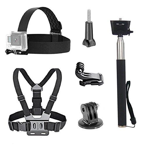 Tekcam Action Selfie Stick, Einbeinstativ für GoPro Hero 8 7 6 5 / Akaso EK7000 / Apeman / ODRVM / Crosstour, Kamera-Zubehör, Kopfband/Brustgeschirr, wasserdicht, für Sport-Action-Kamera.