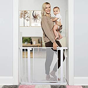 Heele 29.5″-40.5″ Auto Close Safety Baby Gate,Durable Extra Wide Child Gate for Stairs Doorways, Metal Mesh Easy Walk Thru Dog Gate for House,Includes 4 Wall Cups,2.75-Inch and 5.5-Inch Extension