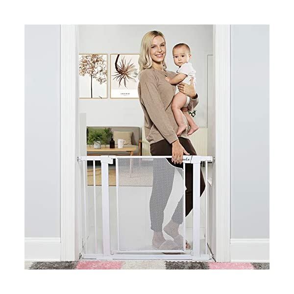 Heele Baby Gates, Auto Close with Easy Walk Thru Door Pressure Mounts Indoor Safety Gate for Kids or Pets