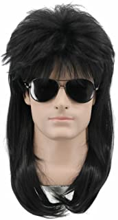 Yuehong Long Rock Star Style Wig Halloween Cosplay Wig Mullet Wig Anime Heat Resistant Wigs(Black)
