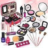 Dreamon Trucchi Bambina, 24 PCS Lavabile Cosmetici Realistico per Bambini con Borsetta,Makeup Giochi Bimba 5 Anni
