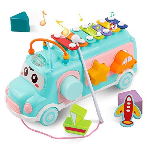 DeeXop Baby Spielzeug 1 2 3 4 Jahre, Musik Bus Spielzeug mit Xylophon und Bausteine, Best PäDagogisches Spielzeug für Kleinkinder 12 -18 Monate Geschenk Baby Junge und Mädchen