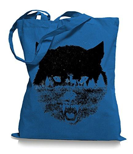 Ma2ca Wolf Forrest Stoffbeutel |Rettet die Wölfe Tragetasche -cornflower_blue