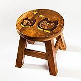Taburete infantil de madera maciza con diseño de búho, altura de asiento de 25 cm