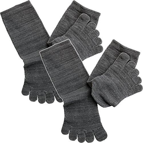 hiorie(ヒオリエ) 日本製 冷えとり靴下 内絹外綿 ミドル丈 5本指 シルクソックス 2足セット 杢チャコールグレー