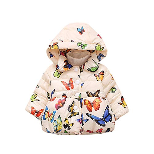 feiXIANG Chaqueta de los niños Infantil otoño e Invierno con Capucha Capa de la Mariposa Chaqueta Capa Gruesa Ropa de Abrigo de algodón de los niños Capa de algodón