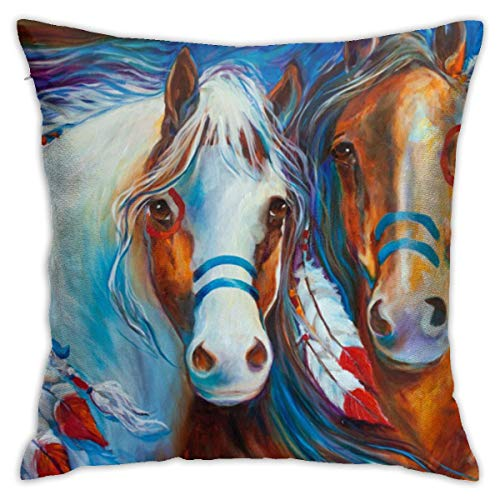 no band Simple Decorative Pillow Covers, Cushion Cover18x18 Inches, Invisible Zip-Best Design Native American War Horse