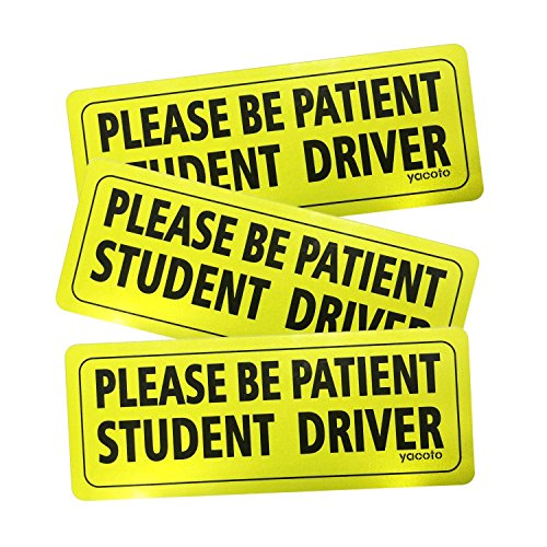 Yacoto 3 Pcs Student Driver Car Magnet Safety Sign Vehicle Bumper Magnet - Reflective Vehicle Car Sign Sticker Bumper Drivers