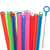 20 Short Reusable Plastic Straws Medium Width + Sturdy Cleaning Brush - for Cocktails, Small Glasses or Cups, and Kids Drinks and Smoothies - Assorted Colors Value Pack - BPA PFOA Free