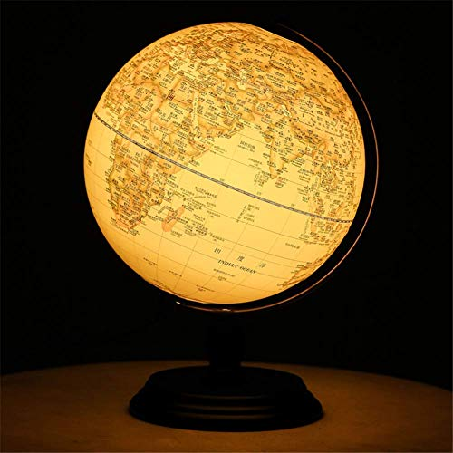 Globe Illuminated Retro World For Kids,Desktop Geographic With Stand,Built-In Led Light Illuminates For Night View,10'
