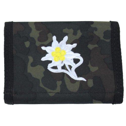 nylon portemonnee, camouflage, edelweiss, klittenband, ID-kaart.