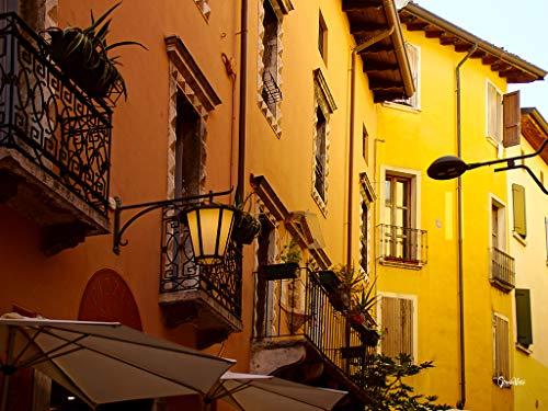 Glücksvilla Desenzano - Cuadro XXL horizontal sobre lienzo y cristal acrílico, varios tamaños, diseño de gazebos italianos, puerto de la famosa fachada (160 x 120 cm, lienzo de 2 cm)