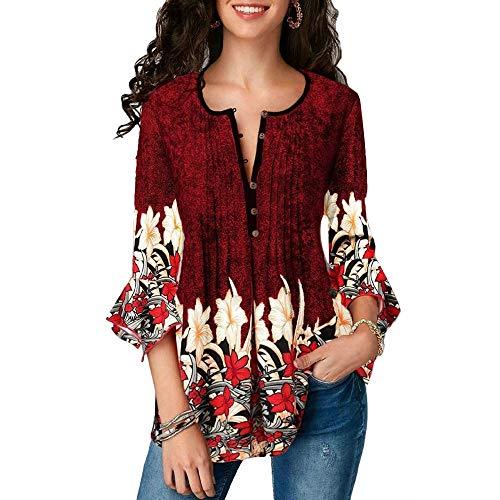 Frauen Blumendruck Stil 3/4 Rüschen Casual Flower Sleeve V-AusschnittT-Shirt mitlosem Knopf