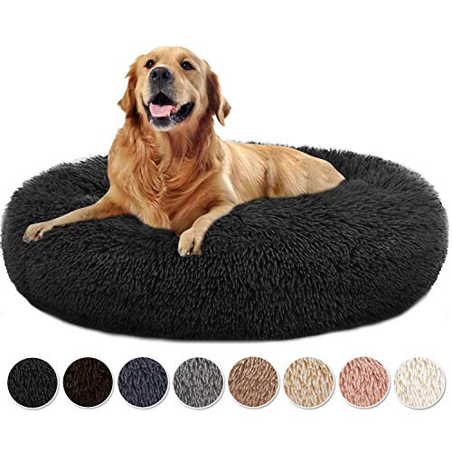 Yurun Haustierbett, Hundebett Weich waschbar Donut Kissen Hund Hundebett Donut Premium Katzenbett in Doughnut-Form für Katzen und kleine bis mittelgroße Hunde - Schwarz 70x70x20cm