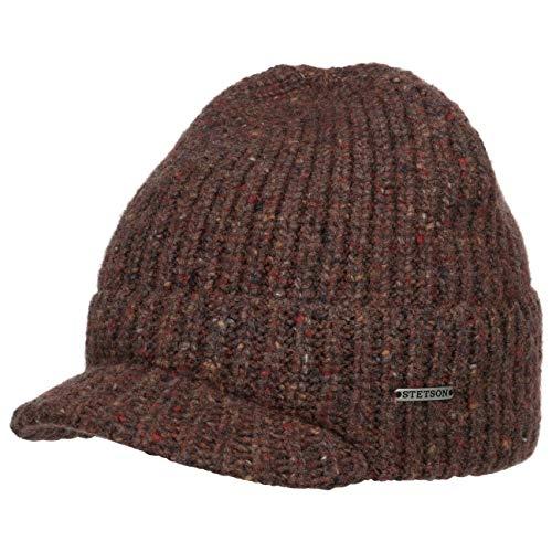 Stetson Dumbell Strickmütze mit Schirm Beanie Wollmütze Wintermütze Damen/Herren - Schirm, Herbst-Winter - One Size Bordeaux