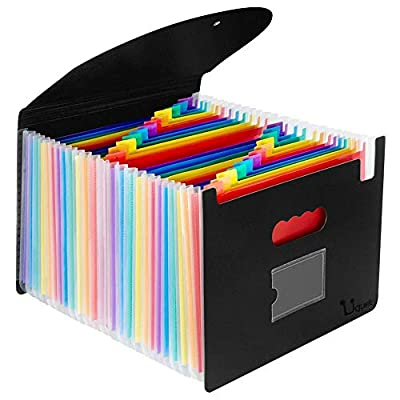 Uquelic Expanding File Folder-24 Pocket Plastic Rainbow File Organizer A4 Letter Size Document Holder Wallet Accordion Briefcase Business Filing Box with Lid and Business Card Holder