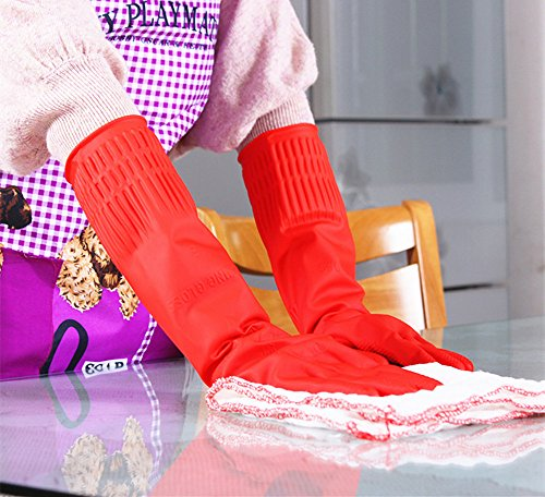 Product Image 4: Rubber Cleaning Gloves Kitchen Dishwashing Glove 3-Pairs,Waterproof Reuseable.(Medium)